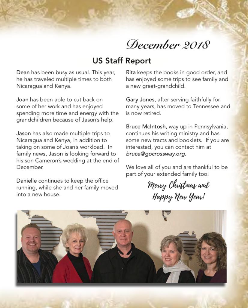 December 2018 Prayer Letter for CrossWay International