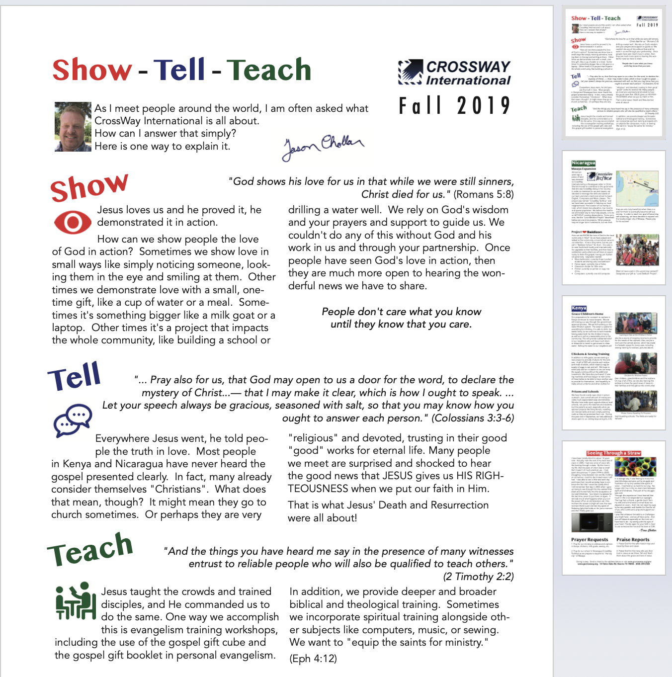 """Show – Tell – Teach"" – Fall 2019 Prayer Letter"