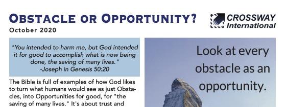 October 2020 Prayer Letter – Obstacle or Opportunity